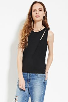 Forever 21 Contemporary - A sleeveless top featuring a cutout side and a layered design.