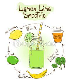 Sketch Lemon Lime smoothie recipe. — Cтоковый вектор