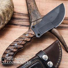ALONZO KNIVES USA CUSTOM HANDMADE TACTICAL TRACKER 1095 KNIFE WOOD HANDLE 1425 #AlonzoKnives