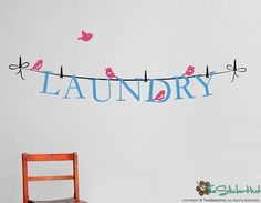 Laundry on a Line  Laundry Room  Wall Graphic by thestickerhut, $21.99
