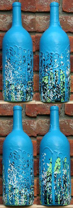 sculpture: oil, acrylic, spray paint, wine bottle.