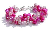 Pink Pearl and Crystal Cluster Bracelet, Bridesmaid Bracelet, Wedding Jewellery, Chunky Bracelet by TheDaintyBoutique, £12.95