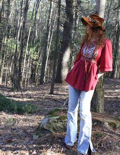 Vintage Dress Top Blouse Bohemian Hippie Girl Festival Top Young Edwardian Label