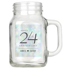 Elegant 24th Opal Wedding Anniversary Celebration Mason Jar - elegant gifts gift ideas custom presents