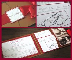 """""""Invitation is for a joint anniversary party and vow renewal ceremony. Cover features embellished monogram layered with a wide satin ribbon. Inserts include special message and hand-drawn map . Wedding 2015, Diy Wedding, Wedding Stuff, Wedding Ideas, 30th Anniversary Parties, Birthday Parties, Red Wedding Invitations, Invites, Samantha Wedding"""