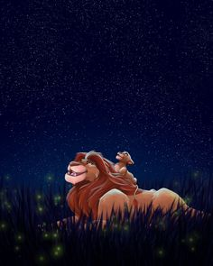 """From one of my favorite movies A beautiful scene with Mufasa and Simba """"Simba, let me tell you something my father told me. Under the stars Look At The Stars, Under The Stars, Cute Disney Drawings, Cute Drawings, Hakuna Matata, Lion King Birthday, Disney Phone Wallpaper, Le Roi Lion, Walt Disney Pictures"""