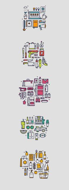 simboli flat di strumenti di varia origne mi piace la semplicità del disegno e la sintesi che va sia dalla linea fino ai colori (che sono molto pochi e ordinati cromaticamente per ogni gruppo di disegno) perché è uno stile pulito e ordinato che mi colpisce molto: