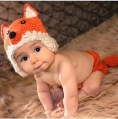 Newborn Crochet Baby Fox Hat with Earflaps and Diaper Cover Set Baby Boy Costume Beanie Photo Props Orange+Free Gift,Lace Doilies,Random Colors Bonnet Crochet, Crochet Beanie Hat, Crochet Hats, Knit Crochet, Hand Crochet, Knitted Hats, Simple Crochet, Cotton Crochet, Beanie Hats