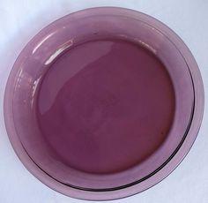 """Pyrex Pie Plate Clear Cranberry #209 9-7/8""""/23 cm #PYREX"""