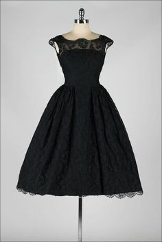 vintage 1950s dress . black chantilly lace . by millstreetvintage