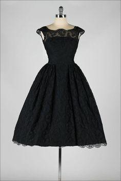 5519c6030de Vintage 1950s dress . black chantilly lace . open back . cocktail dress .  3982