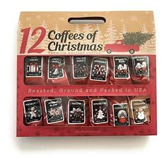 12 Gourmet Coffees of Christmas Holiday Gift Set - Great office gift