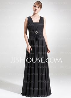 Mother of the Bride Dresses - $138.99 - A-Line/Princess Square Neckline Floor-Length Chiffon Mother of the Bride Dress With Ruffle Crystal Brooch (008006273) http://jjshouse.com/A-Line-Princess-Square-Neckline-Floor-Length-Chiffon-Mother-Of-The-Bride-Dress-With-Ruffle-Crystal-Brooch-008006273-g6273