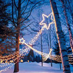 star decor- use a metal star frame and strings of Christmas lights