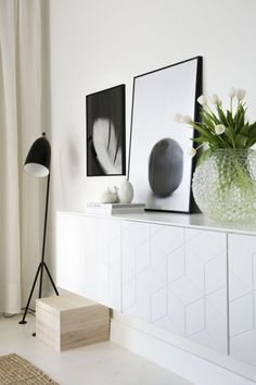 Floating sideboard with a simple vignette
