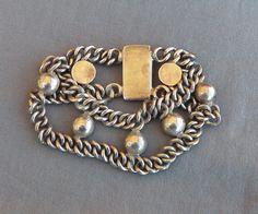 Vintage Sterling Mexican Far Fan Bead Chain Bracelet 45 grams