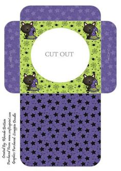 Witchy Kitty Cookie Pocket 2 on Craftsuprint designed by Rhonda Brittain - These cookie pockets are easy to put together and a great idea to put cookies, biscuits or some lollies/treats in for halloween - Now available for download!