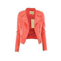 Diana New Womens Faux Leather Biker Gold Button Zip Crop Ladies Jacket... ($47) ❤ liked on Polyvore featuring outerwear, jackets, biker jacket, faux leather zip jacket, vegan jackets, red cropped jacket and cropped faux leather jackets