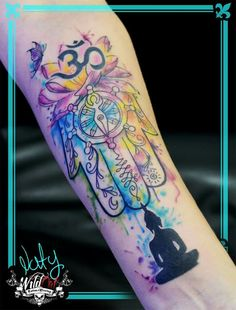 Watercolor tattoo, mano hamsa, mano de fatima, budismo, lotus,  loto, tatuajes a color