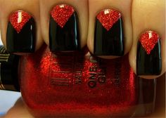 Chloe's Nails: The Black Widow. May need to do this with my black & red Halloween outfit