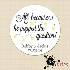 Custom Wedding Stickers - Popcorn Love Monogram Personalized Stickers, Wedding Favor Stickers, Birds - Choice of Size on Etsy, $6.00