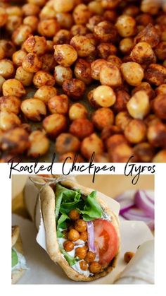 This Roasted Chickpea Gyros recipe is an easy and delicious Mediterranean inspired wrap with refreshing tzatziki sauce. The perfect vegetarian dinner or lunch! // Live Eat Learn recipes Vegetarian Roasted Chickpea Gyros (under 30 minutes! Vegan Foods, Vegan Dishes, Vegan Chickpea Recipes, Vegetarian Gyro Recipe, Healthy Vegetarian Dinner Recipes, Veggie Dinner Recipes, Clean Dinner Recipes, Vegetarian Recipes Videos, Clean Eating Vegetarian