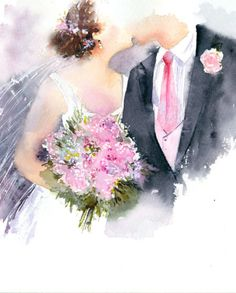 Leading Illustration & Publishing Agency based in London, New York & Marbella. Wedding Drawing, Wedding Dress Sketches, Wedding Painting, Wedding Art, Watercolor Wedding, Watercolor Cards, Wedding Images, Wedding Couples, Wedding Pictures