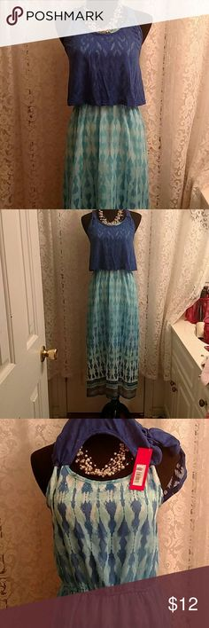 LONG SUNDRESS Beautiful various blues & white, all one piece, 1/2 slip attached. Never Worn! NWT *Ship Same Day, BUNDLE $ SAVE* Xhilaration Dresses Maxi