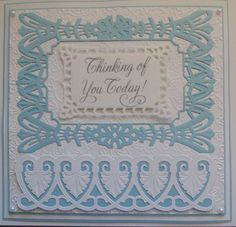 Inky Finger Zone: Thinking of you today Thinking Of You Today, Spellbinders Cards, Die Cut Cards, Card Making, Birthday, Frame, Blog, Die Cutting, Crafts