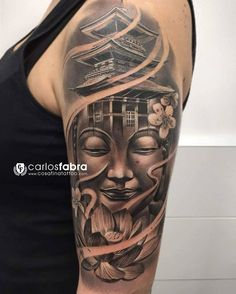 3D buddha with louts half sleeve tattoo