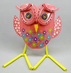 Pretty in Pink Yard Art Metal Folk Art Owl by OurUniquePerspective