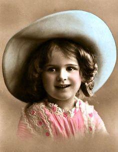 Sweet little girl ~ blue hat & pink dress