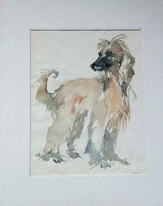 Vintage Water Color AFGHAN HOUND Dog Artwork by by HoardersShop