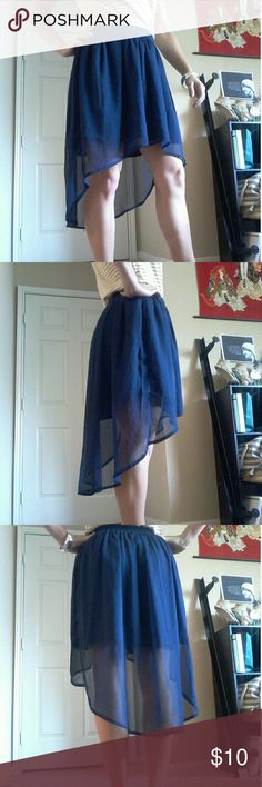 Converse One Star Skirt Is the high-low trend over? YOU decide. Pave your own destiny with this navy blue chiffon skirt. The elastic waistband is forgiving, which is how my size 4 can fit into this piece! EUC. Converse Skirts High Low