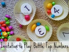 Invitation to Play: Bottle Top Numbers - a fun way to learn numbers using bits and pieces from around the house. Great for toddlers and preschoolers.
