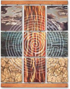Labyrinth by Belinda Allen. Double sided photomedia on wood. 1993