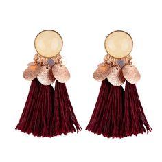 SODIAL Bohemian Drop Alloy Wafer Tassel Earrings for Women Fashion Jewelry Women Statement Dangle Earrings Wine Red