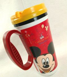 Disney Parks Mickey Travel Mug Lid Celebrate Today! free Refill 2009 #CocaCola  #DisneyParks #MickeyMouse