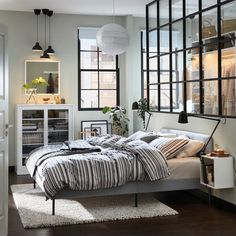 Dream big in this affordable bedroom │ IKEA Urban Chic Bedrooms, Modern Bedroom, Upholstered Bed Frame, Headboard And Footboard, Ikea Portugal, Cama Ikea, Ikea Bed, Clean Bedroom, Bedroom Bed