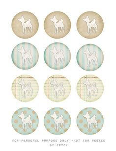free vintage deer 2 in circle tags by FPTFY by Free Pretty Things For You!, via Flickr