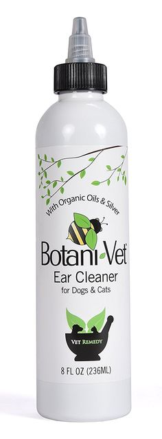 BotaniVet Ear Cleaner 8 Oz - 100% Natural Ingredients - Made with Certified Organic Oils and Silver - Veterinary Dermatologist Formulated for Dogs and Cats with Ear Problems >>> Read more at the image link. (This is an affiliate link) #DogHealthSupplies