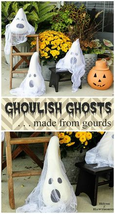 DIY Halloween Ghosts made from Gourds