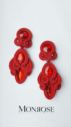 Red Earrings, Tassel Earrings, Fashion Earrings, Crochet Earrings, Boho Jewelry, Jewelery, Soutache Tutorial, Shibori, Soutache Necklace