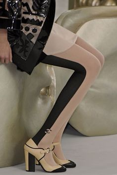 two-tone tights, chanel