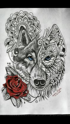 Mandala wolf rose tattoo More