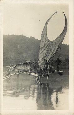 c7e64ac8458aaf5b889d342d628594a2.jpg (236×367).  C1920 Solomon Islands RPPC Santa Cruz Sailing Canoe Natives Ethnic Dugout