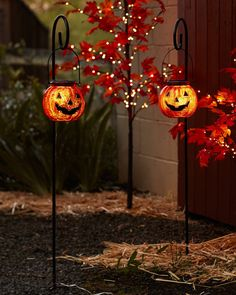 Solar Powered Jack O' Lantern Pathway Lights Set of 2 by Balsam Hill Christmas Pathway Lights, Hanging Christmas Lights, Holiday Lights, Solar Powered Christmas Lights, Christmas Tree, Halloween Porch, Fall Halloween, Halloween Ideas, Halloween Office