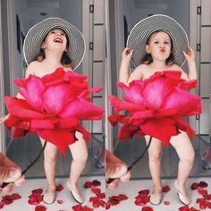 A pequena Stefani, com apenas 3 anos, imagina com sua mãe vestidos bastante criativos com flores, frutas, vegetais… Essa é uma boa dica de conta para seguir no Instagram.