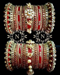Beautiful Red bangles for Indian Bride❤ Bridal Bangles, Gold Bangles, Bridal Jewelry, Thread Bangles, Flower Jewelry, Jewelry Gifts, Jewelery, Indian Jewelry Sets, Indian Wedding Jewelry