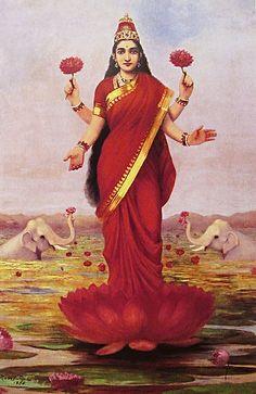 Goddess Lakshmi painting by Raja Ravi Varma, 1896
